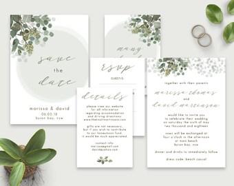 Wedding Invitation Set, Printable wedding invitation set, Eucalyptus Wedding invite, Rustic, Save the Date, Greenery, Australian Native