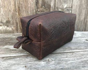 Dopp Kit Embossed Botanical Leather Brown