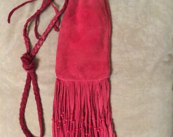 Vintage soft red suede fringed bag