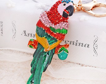 Crystal Encrusted Parrot Keychain