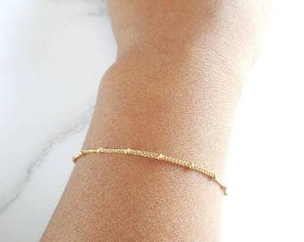 Gold Satellite Bracelet - Gold Filled - Gold Chain - Minimal Gold Bracelet - Stacking Bracelet - Gift for Her - Bridesmaid Bracelet