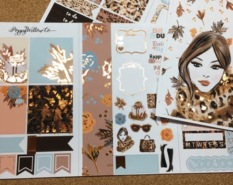 Fall In Love, Copper Foiled Travellers Note Book Sticker Set | Pocket Sized