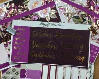 Burgundy Bliss Gold Foiled September to February Classic HAPPY PLANNER MONTHLY Spread Decorative Sticker Set