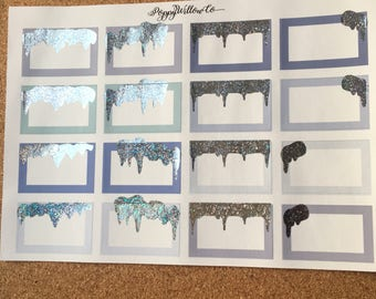 Icicle Half Boxes | Silver Glitter Foil | Winter | Frosty