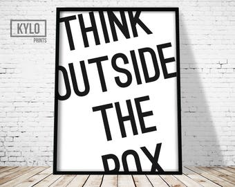Think Outside the Box print, Typography Print, Office Decor, Home Decor, Quote Art, Word Quote Print, Motivational Poster, Home Wall Art