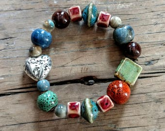 Porcelain ceramic beaded bracelet