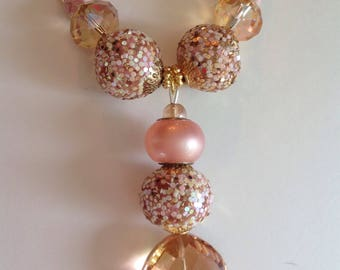 Pink and champagne beaded pendant necklace