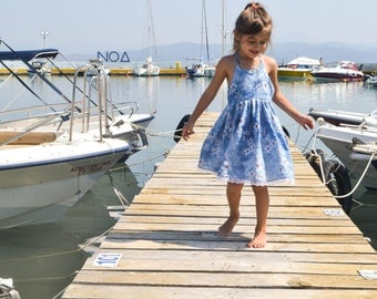Island dress,floral dress,girl's dress,summer dress,toddler dress,blue dress,party dress,birthday outfit