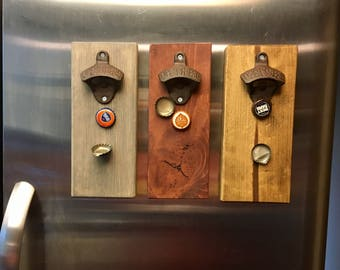 Magnetic Cast Iron Bottle Opener in 3 colors! Great gift for him! Magnetic Bottle Opener! Nice addition to fridge! Iron gift for him.