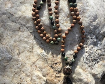 Natural Gemstone 108 Bead 8mm Mala / Prayer Beads / Necklace - Jasper, African Turquoise Jasper, Obsidian