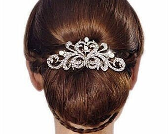 Classic Luxury Crystal & Pearl Scroll Bridal Hair Comb