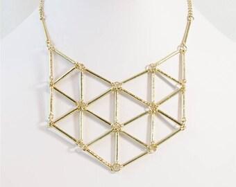 Geometric Gold Statement Collar Necklace