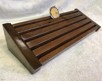 30 Coin Rustic/Burled Walnut Challenge Coin Display Rack