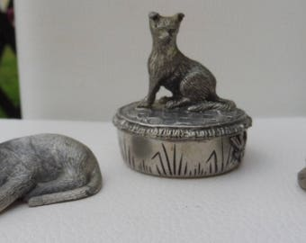 Delightful Trio of Three Pewter Cats Including a Woodsetton Trinket Box.