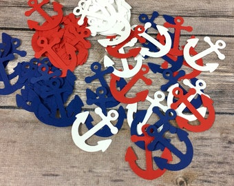 120 Nautical Confetti, Anchor Confetti, Birthday Decor, Baby Shower