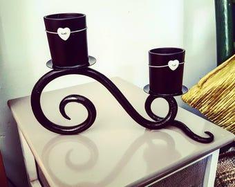 Scroll candle holder home decor black steel blacksmith forged intiror handmade