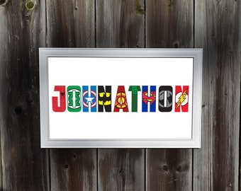 Personalized Superhero Wall Art
