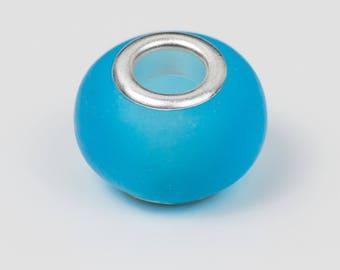 20 sky blue translucent glass European beads