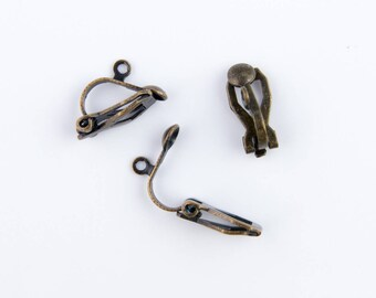 bronze 10 clips (5 pairs) earring