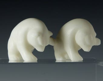 Polar Bear cub figurines, hand carved in alabaster in the inuit style.  Really cute!!