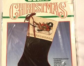BUCILLA Christmas Goose Green Velveteen Counted Cross Stitch Stocking Kit 82510