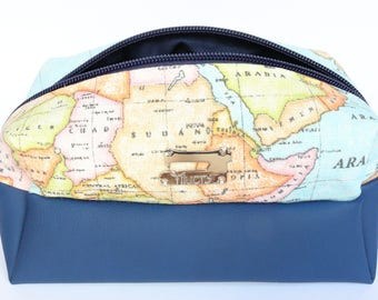 Worldmap pencil case, Pencil pouch, Desk accessory, Worldmap, Student pencil case, Travel pouch, Student gift, Back to school supplies