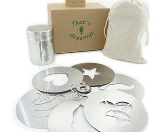 Cappuccino Coffee Barista Stencils - Eco-Friendly Stainless Steel Templates With Bonus