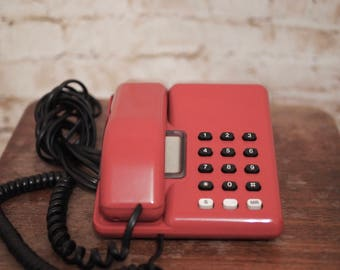BT Viscount Retro Red Push Button Telephone