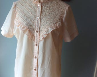Vintage Styled by Terry Womens Peach Blouse size 14 with Smocking
