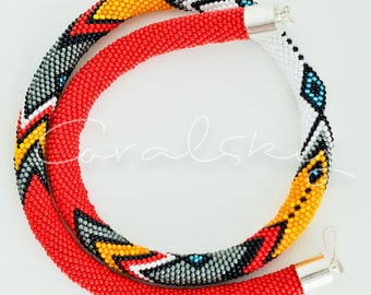 Handmade, elegant, beaded necklace made by Coralsky