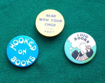 3 Vintage Reading Badges