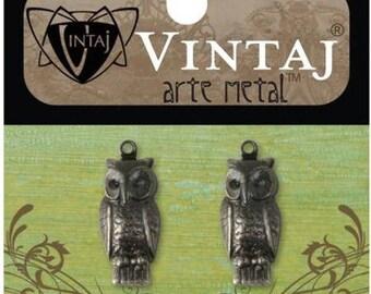 Vintaj Arte Metal Perching Owl Charms 22.5x9.5mm (2)