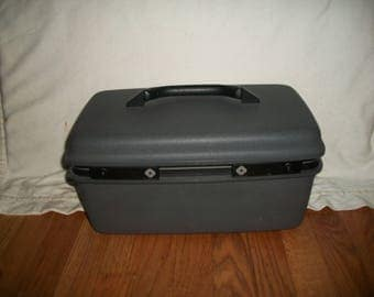Vintage Samsonite Gray Train Case with Mirror and Vanity Tray