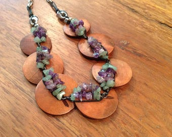 Vintage Stone and Wood Necklace