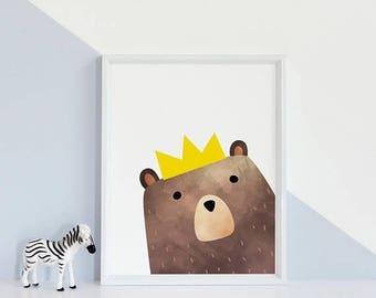 Bear Nursery Print, Bear Nursery Art,StudioM, Bear Poster, Bear Art Print, Bear Nursery Decor, Kids Print, Childrens Wall Poster, Bear Print