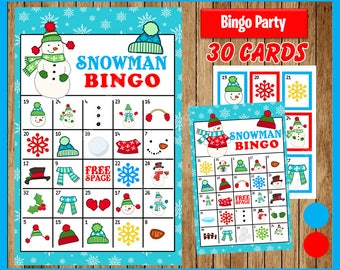 Snowman Winter Bingo Printable Game - 30 different Cards - Snowman Memory Game - Party Game Printable - INSTANT DOWNLOAD