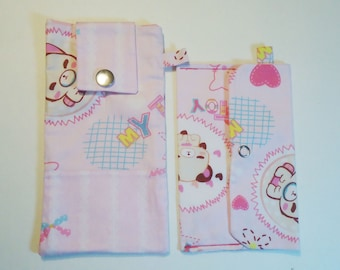 Kawaii Kitty Cell Phone Case Set 2/Pouch/Bag/Eyeglass Case/iPhone/LG/PixelXL/Samsung/ZTE/Small Pouch