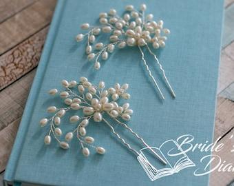 1pcs Bridal hair pins, Pearl Hair pins, silver hair pins with pearls