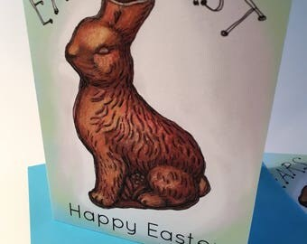 Ears First Easter Card, Chocolate Bunny