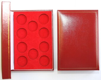 Red Padded Coin Cases To Hold 10x Half Sovereigns In Capsules