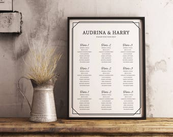 Wedding Seating Chart | Simple Seating Plan | Table Arrangement | Wedding Table Chart | Wedding Signage | Table Setting | Chart Seating