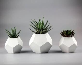 Set of 3 Concrete planters, Air plant planters, geometric planter, desktop planters, small concrete planters