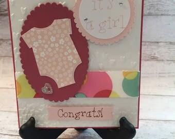 Baby Card, Baby Girl Card, New Baby Card, Handmade Baby Card, Onesie Card, Pink Baby Card