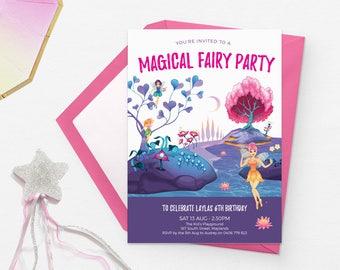Fairy invitations Rainbow invitations Printable birthday invitations Kids party invitations First birthday invitations Kids birthday invites