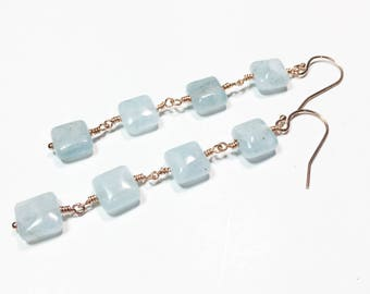 Aquamarine Earrings, Aquamarine Rose Gold Earrings, March Birthstone, Rose Gold Earrings, Natural Aquamarine Earrings, Gifts for Sister