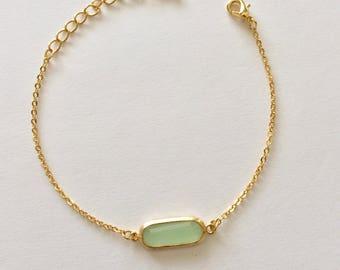 SALE bracelet, mint green glass stone gold, chic, simple, small, work, evening, oblong, oval, bezel, bead, chain bracelet