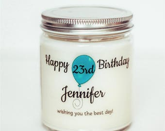 Scented Personalized Candle, Soy Candle, Birthday Candle, Birthday Present, Candle Gift, Birthday Gift, Custom Candle, Birthday Candle