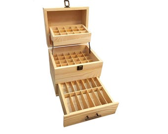 59 Holes Natural Pine Wood Square Box for Essential Oils