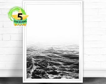 Beach Coast Print, Black and White Beach Print, Ocean Wall Art, Wave print, Beach Photography, Coastal Decor, Digital Download Printable Art