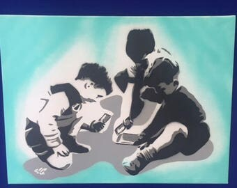 Children of today - Spray painted stencil to canvas (original)
